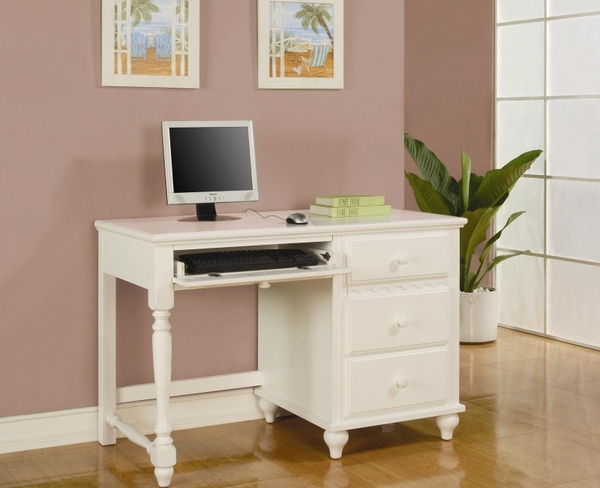 White Finish Pedestal Desk