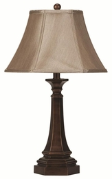 Piller Shaped Bronze Base Table Lamp with Beige Fabric Shade