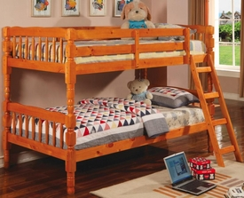 Pine Finish Twin Bunk Bed with Ladder