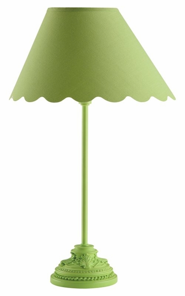 Pistachio Green Table Lamp with Scalloped Shade