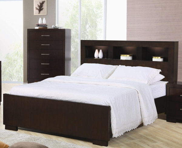 queen bed with storage headboard and built in lighting by. Black Bedroom Furniture Sets. Home Design Ideas