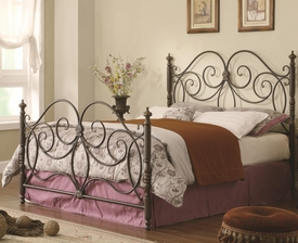 Queen Iron Headboard & Footboard Bed with Scroll Details