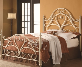 Queen Metal Headboard & Footboard Bed with Egg Shell Finish