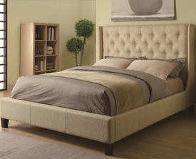 Queen Tan Upholstered Bed with Button Tufting