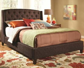 Queen Upholstered Bed with Wood Bun Feet