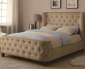 Queen Upholstered Tan Velvet Bed with Button Tufting
