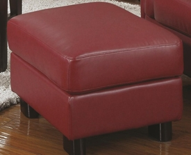 Red Bonded Leather Upholsted Rectangular Ottoman