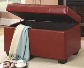 Red Button-Tufted Storage Ottoman