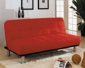 Red Microfiber Adjustable Sofa