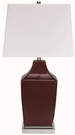 Red Table Lamp with Chrome Base