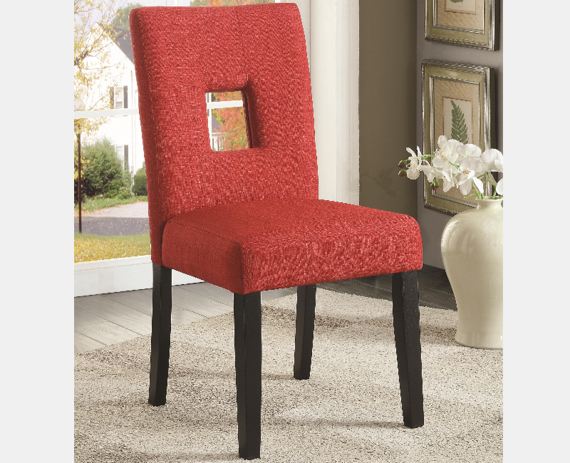 Red Upholstered Dining Chair With Cappuccino Legs By Coaster