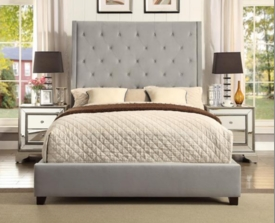 Reese Velvet Microfiber Upholstered Queen Bed