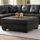 Black Bonded Leather Ottoman with Wood Feet