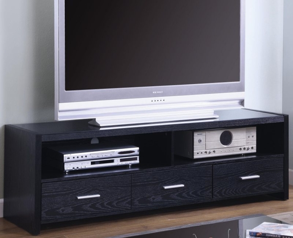 Rich Black Finish Media Console with Shelves and Drawers