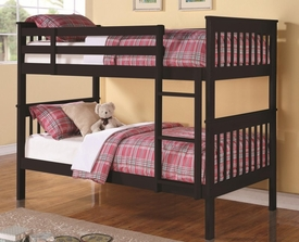 Rich Black Finish Twin Over Twin Bunk Bed