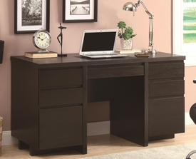Rich Cappuccino Finish Double Pedestal Computer Desk