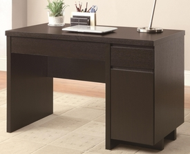 Rich Cappuccino Finish Single Pedestal Computer Desk