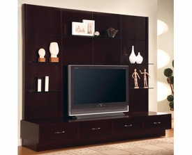 Rich Cappuccino Wood Finish Entertainment Wall Unit