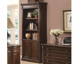 Rope Molding Columns Bookcase with 2 Doors and 2 Shelves