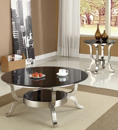 Rosa Chrome Finish Glass Top Coffee/End Table Set