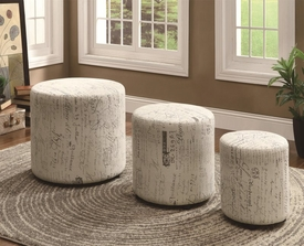 Round Ottoman Set with French Script Pattern
