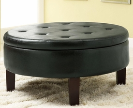 Round Upholstered Storage Ottoman with Tufted Top
