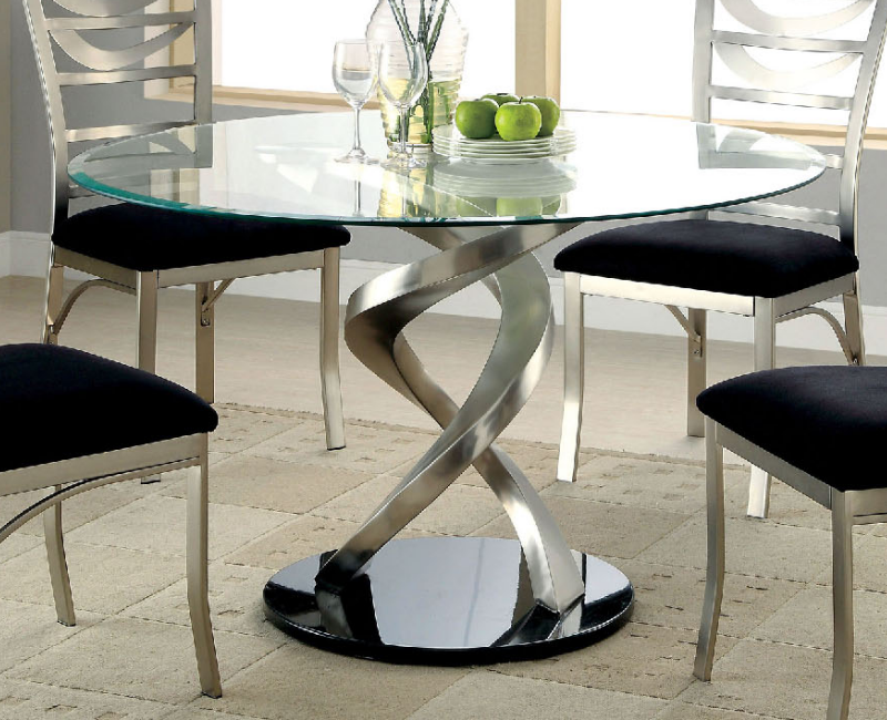 Roxo Round Glass Dining Table by Furniture of America ...