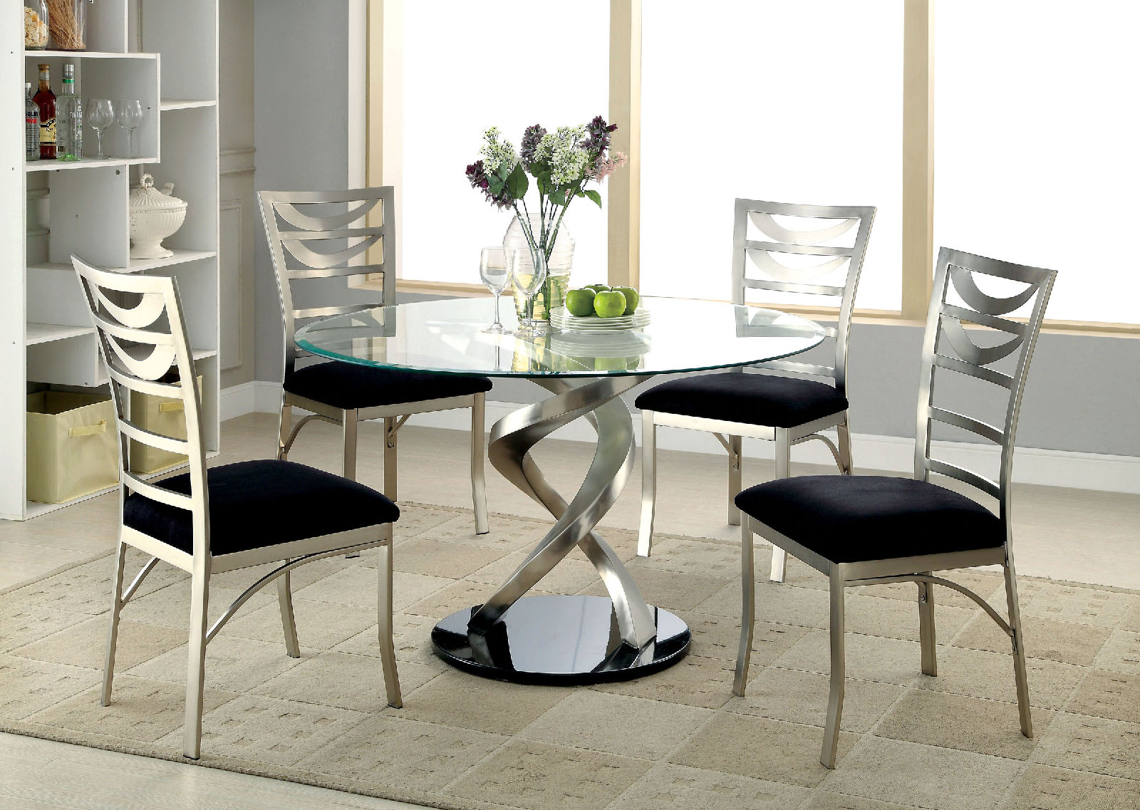 Roxo round glass dining table by furniture of america for Furniture of america dallas texas