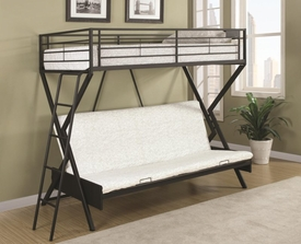 Sandy Black Metal Convertible Futon Loft Bed