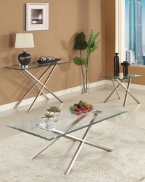 Seble Chrome Finish Glass Top Coffee/End Table Set