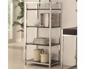 Shiny Chrome Finish 4 Shelf Open Bookcase