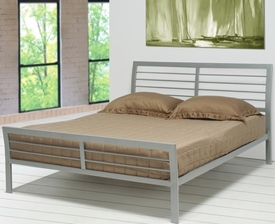 Silver Metal Finish Queen Headboard & Footboard Iron Bed