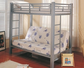 Silver Metal Twin Over Futon Metal Bunk Bed