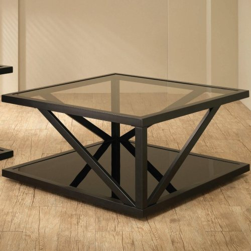 Square Black Coffee Table With Glass Top By Coaster Furniture 700768 Dallas Fort Worth