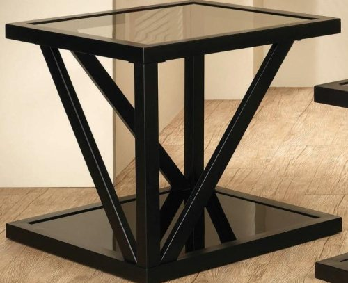 Square Black End Table With Tempered Glass Top By Coaster Furniture