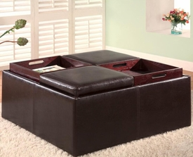 Square Faux Leather Storage Ottoman with Tray Tops