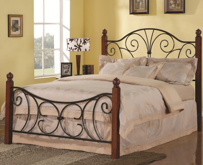 Queen Beds Metal: Swirl Design Queen Wood With Metal Headboard & Footboard