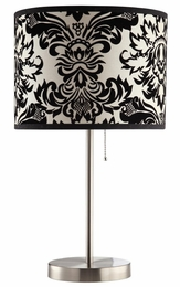 Table Lamp with Black and White Damask Print Shade