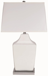 Ivory Table Lamp with Chrome Base