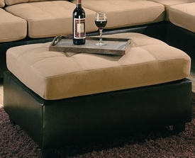 Tan and Dark Brown Two Tone Ottoman