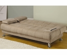 Tan Fabric Convertible Sofa Bed with Removable Armrests