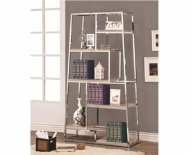 Tapered Chrome Bookshelf with Staggered Wood Shelves