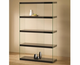 Black Shelves Tempered Glass Display Cabinet