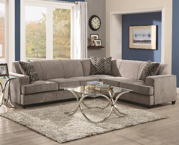 Tess Grey Microvelvet Sectional Sleeper # 500727