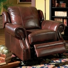 Tri-Tone Burgundy Rolled Arm Leather Recliner
