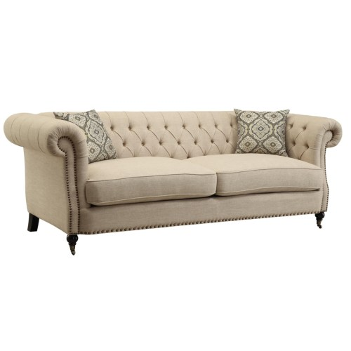 Trivellato Oatmeal Colored Linen Upholstered Sofa By Coaster Furniture 505821 Dallas Fort Worth