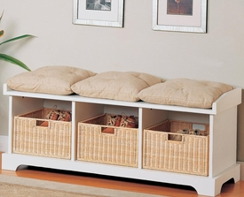 Button Tufted Cushions on White Storage Bench with Baskets