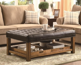 Tufted Seating Ottoman with Removable Serving Trays