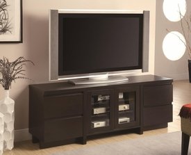 TV Console with 4 Drawers & 2 Glass Doors