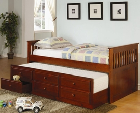 Twin Captain's Bed with Trundle and Storage Drawers